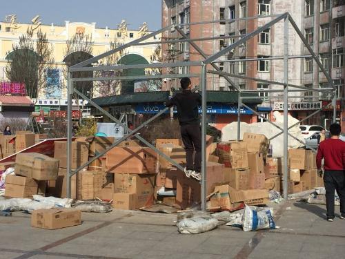哈尔滨红旗大街与延福街交口处广场大棚拆除