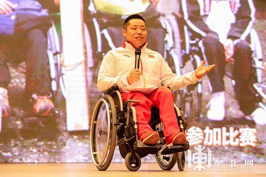平昌冬残奥会轮椅冰壶冠军刘微。东北网记者 安泽 摄