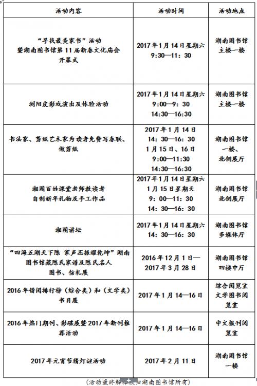 湖南图书馆第11届新春文化庙会活动指南
