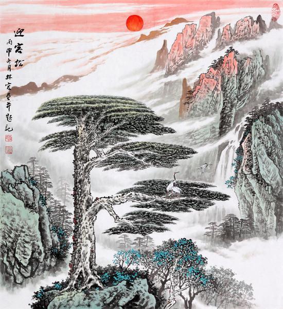 装饰画小品 李林宏斗方山水画作品《迎客松》 作品来源:易从网