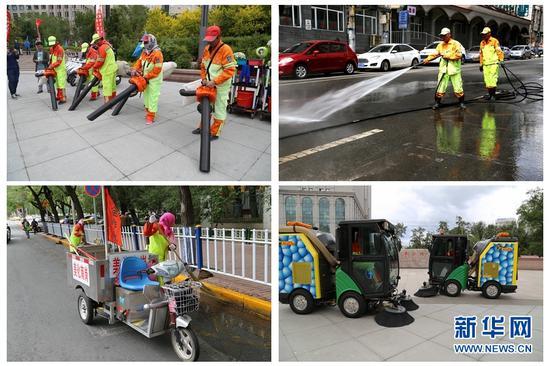 """在城市的每个角落都有辛勤劳动的环卫职工,新式清扫""""武器""""使城市美化工作事半功倍。新华网才萌 摄"""