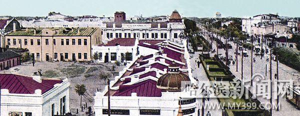 早期东大直街的白墙、红顶、绿茵。
