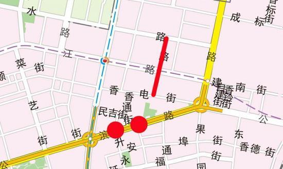 """图中红线为将要打通的 """" 微循环 """" 道路。"""