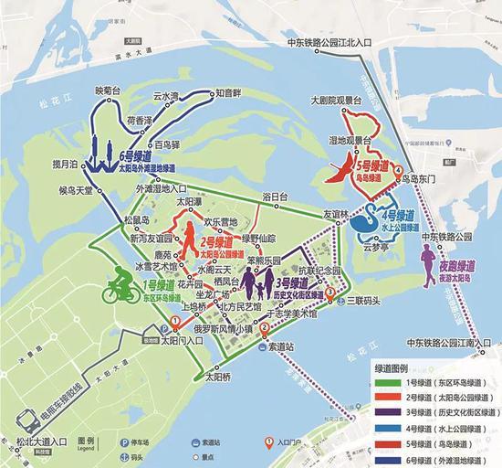 ▲太阳岛绿道游览图