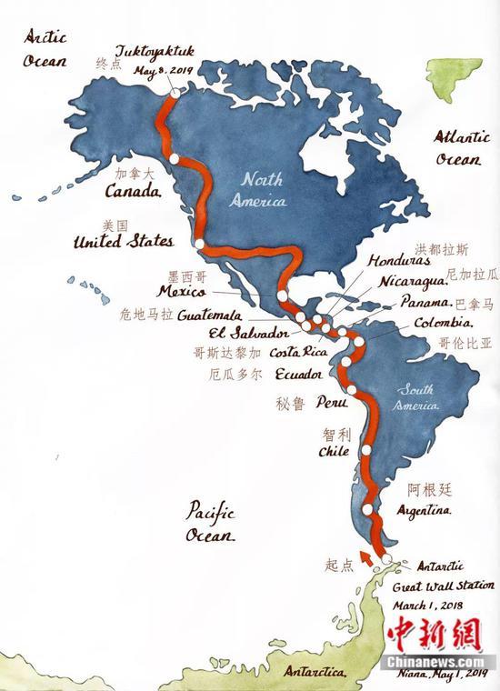 白斌从南极到北极的路线图受访者供图