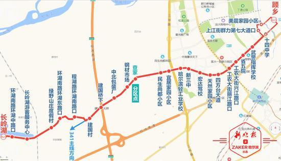 长岭湖至顾乡方向站点设置 :