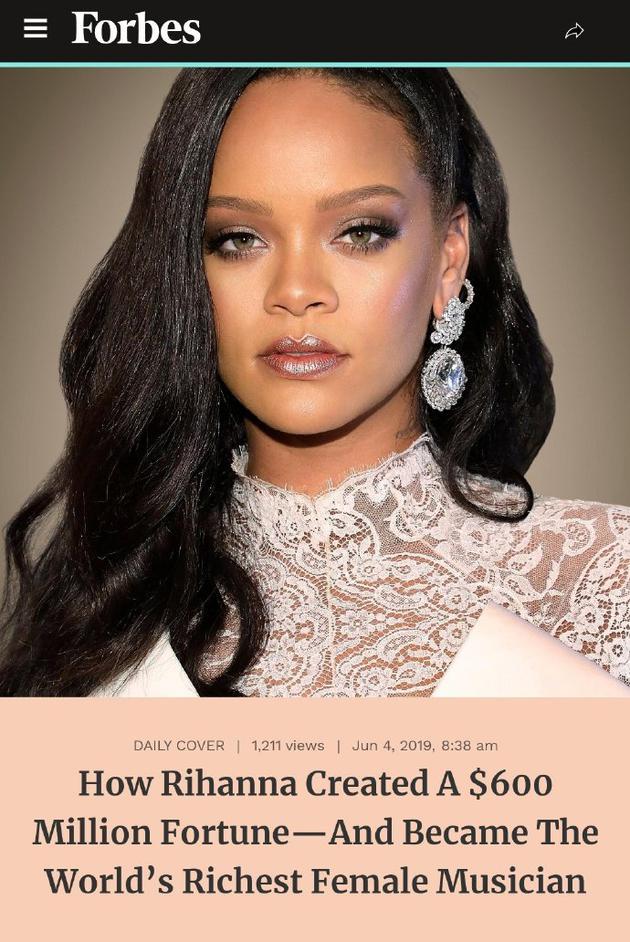 蕾哈娜个人资产达六亿美元