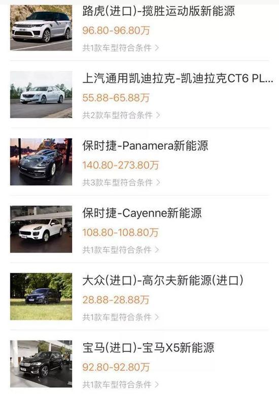 参考车型及价格