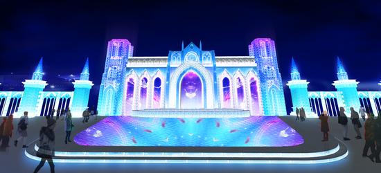 第二十一届哈尔滨冰雪大世界浪漫冰舞台效果图