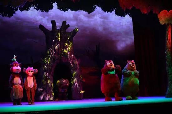 正在演出中的《熊出没缤纷王座》剧照