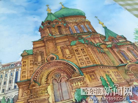 欧式教堂水彩画