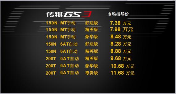 GS3价格公布