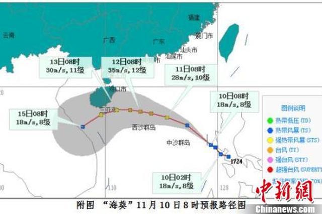 """台风""""海葵""""移入南海东部 最强可达11级左右"""
