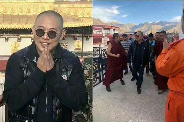 李连杰现身西藏双手合十感谢粉丝 剃头驼背显苍老