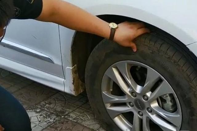 停在科大小区楼下SUV被划花轮胎被扎 警方寻找目击者