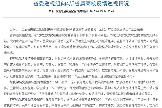 黑龙江省委巡视组向4所省属高校反馈巡视情况