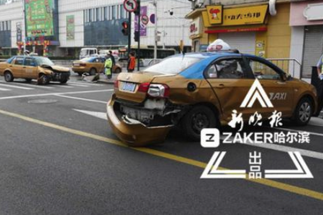 哈尔滨道里区两辆出租车相撞 一的哥为啥弃车逃逸