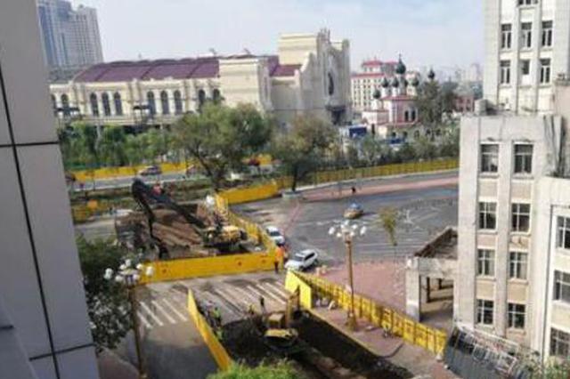 哈站北广场地下通道开工 工厂胡同地段街已封闭