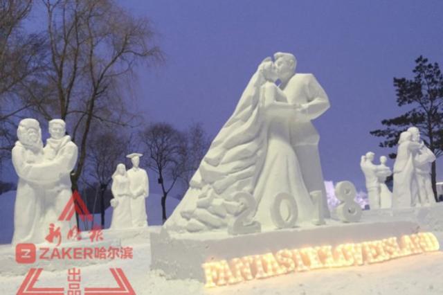 黑龍江冬季有座奇妙愛情島每個雪雕都有一段愛情故事
