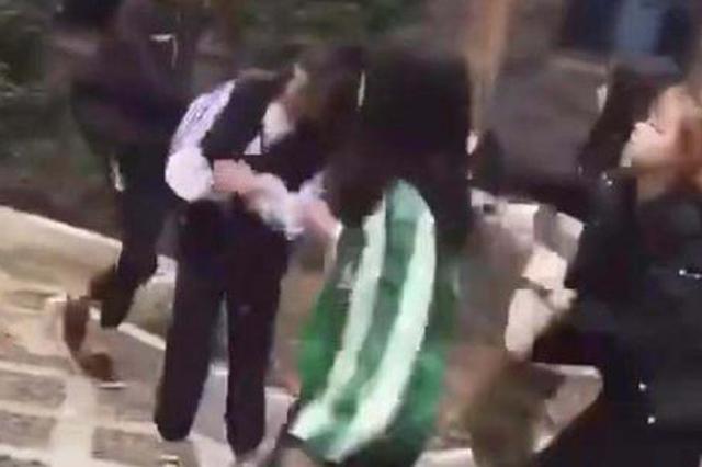 四五人围着一位女孩殴打。网传视频截图