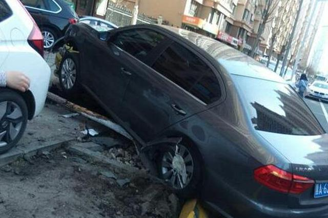 """疑拿油门当刹车 大众轿车先撞树又""""骑""""上一辆私家车"""
