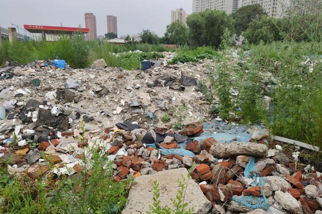 哈市润园翡翠城墙外空地变垃圾场 清运公司:临时堆放