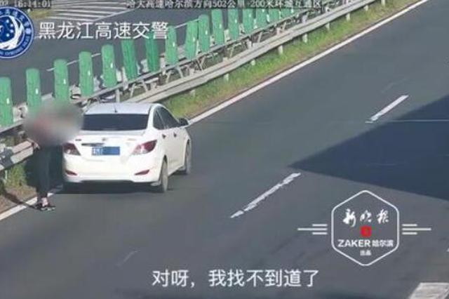 惊险 女司机哈大高速快车道上突然停车 竟还拦车问路