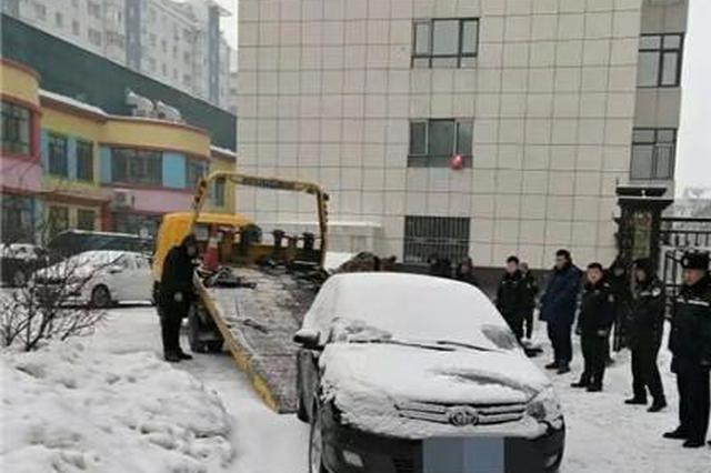 过年更不能客气 巴彦县开出首张占堵消防通道违停罚单