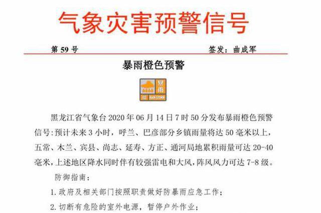 黑龙江气象台6月14日7时50分发布暴雨橙色预警信号