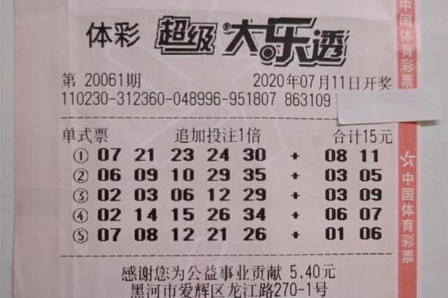"""第一次买大乐透就中了1800万 黑河""""95后""""取走头奖"""