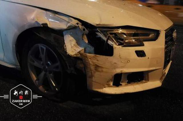 疑似酒驾奥迪追尾出租车致其失控 殃及另外俩车1人受伤