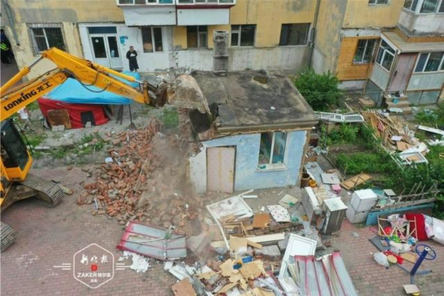 阳台、门斗、围栏……香坊区拆除违建面积7200平方米