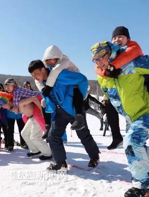 光猪滑雪雪地撸串 北方人迎春的范儿