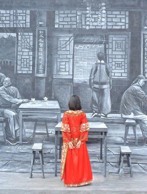"""中华巴洛克""""茶馆剪影墙""""人在画中游"""