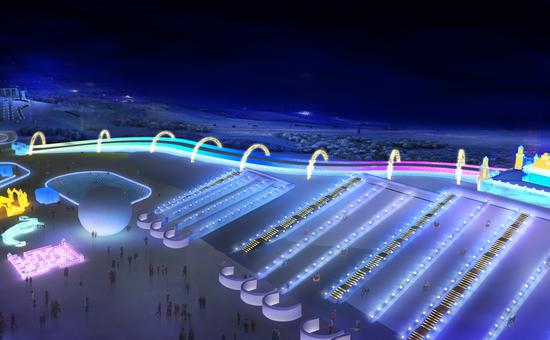 第二十一届哈尔滨冰雪大世界极速大滑梯效果图