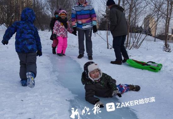 哈尔滨群力体育公园新增数条雪道 市民雪里撒欢玩