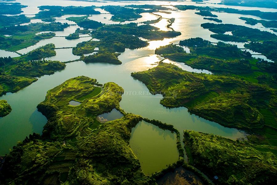 美如画卷!夕阳下的桂阳舂陵国家湿地公园