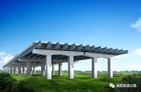 ▲长益扩容钢结构桥梁剖面示意图。
