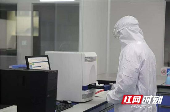 工作人员正仔细确认新冠肺炎病毒血液核酸检测标本。