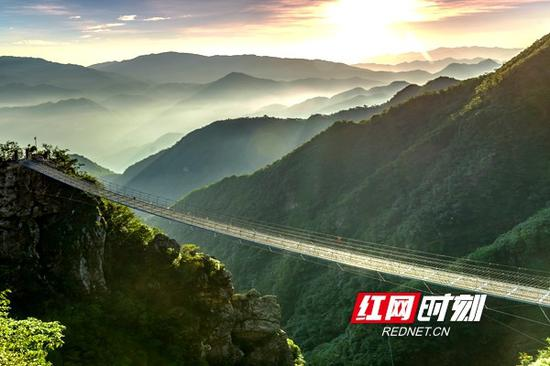 三联峒景区镂空铁索桥。