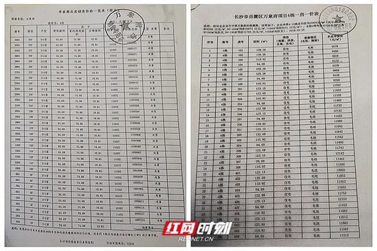 业主出示的两份不同的价格公示表的复印件。