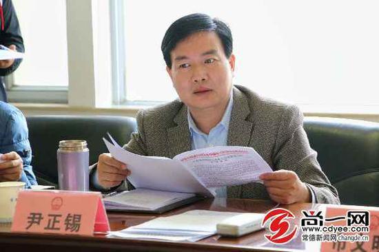 常德市人民政府副市长尹正锡讲话。记者 丁时慧 摄