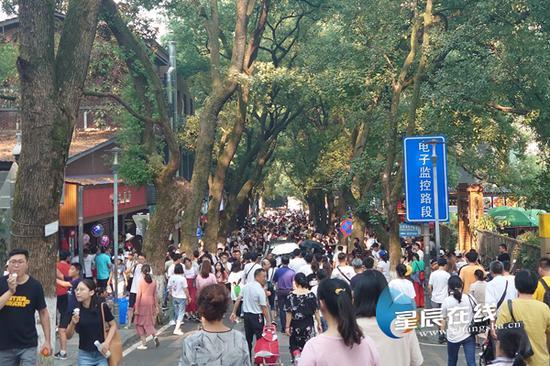 (10月2日,秋高气爽的岳麓山迎来了八方来客。)