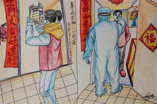湘郡社区工作人员、小区业委会志愿者对辖区居民进行信息登记,医务人员上门对居家隔离人员检测体温。