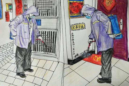 物业工作人员对小区楼道进行每天2次消毒。