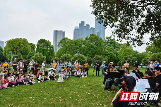 新颖的户外音乐会吸引了不少游客驻足欣赏。