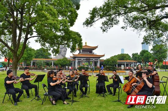 坐在草坪上听交响乐 橘子洲景区上演假日音乐会