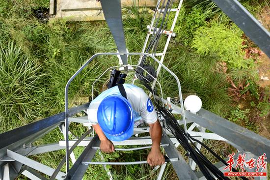 工作人员在攀登铁塔,检修网络状况。
