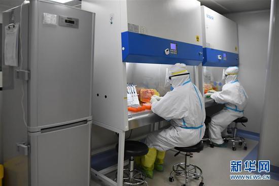 资料图:长沙卫实医学检测所的工作人员在核酸提取区对样本进行处理。 新华社记者 薛宇舸 摄