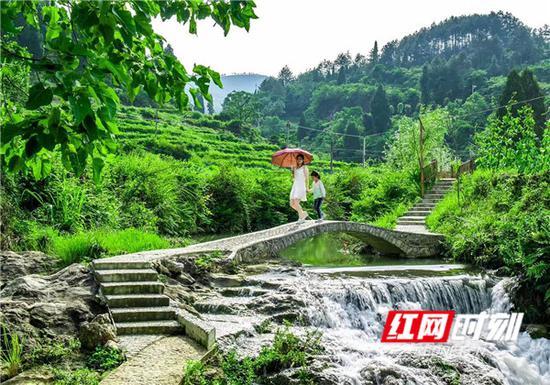 小桥、流水,漫步村里游步道。